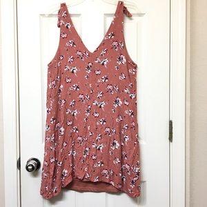 Tillys | fall maroon floral v neck tunic dress